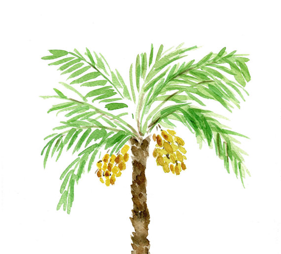 Watercolor palm tree clipart vector transparent download Palm Tree art print, palm tree watercolor print, Green ... vector transparent download