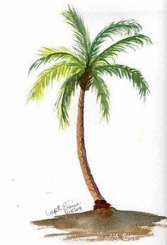 Watercolor palm tree clipart black and white library Watercolor Palm Tree at PaintingValley.com | Explore ... black and white library
