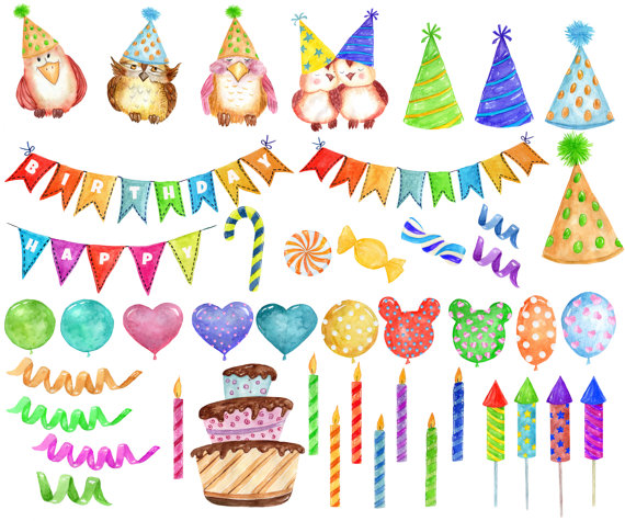 Watercolor party clipart clipart download Watercolor Party Clipart: \