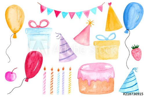 Watercolor party clipart banner freeuse Watercolor Birthday party clipart with colorful balloons ... banner freeuse