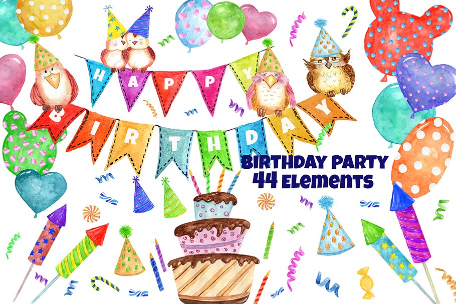 Watercolor party clipart svg free download Watercolor Birthday Party Clipart svg free download