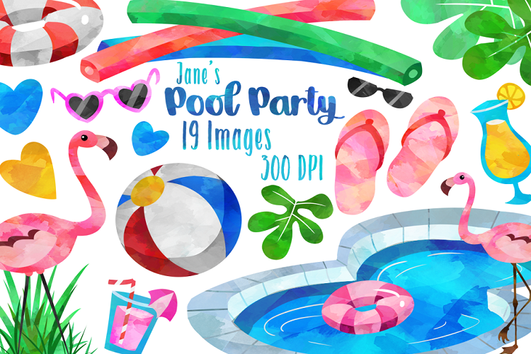 Watercolor party clipart banner black and white library Watercolor Pool Party Clipart banner black and white library
