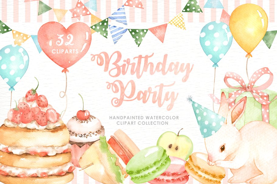 Watercolor party clipart jpg transparent stock Birthday Party Watercolor Cliparts ~ Illustrations ... jpg transparent stock
