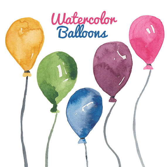 Watercolor party clipart graphic free library Watercolor Balloon clipart birthday party clip art Balloons ... graphic free library