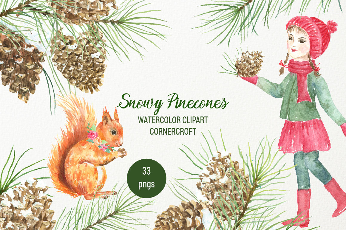 Watercolor pine cones clipart clipart free Snowy Pine Cones Watercolor Clipart By Cornercroft ... clipart free