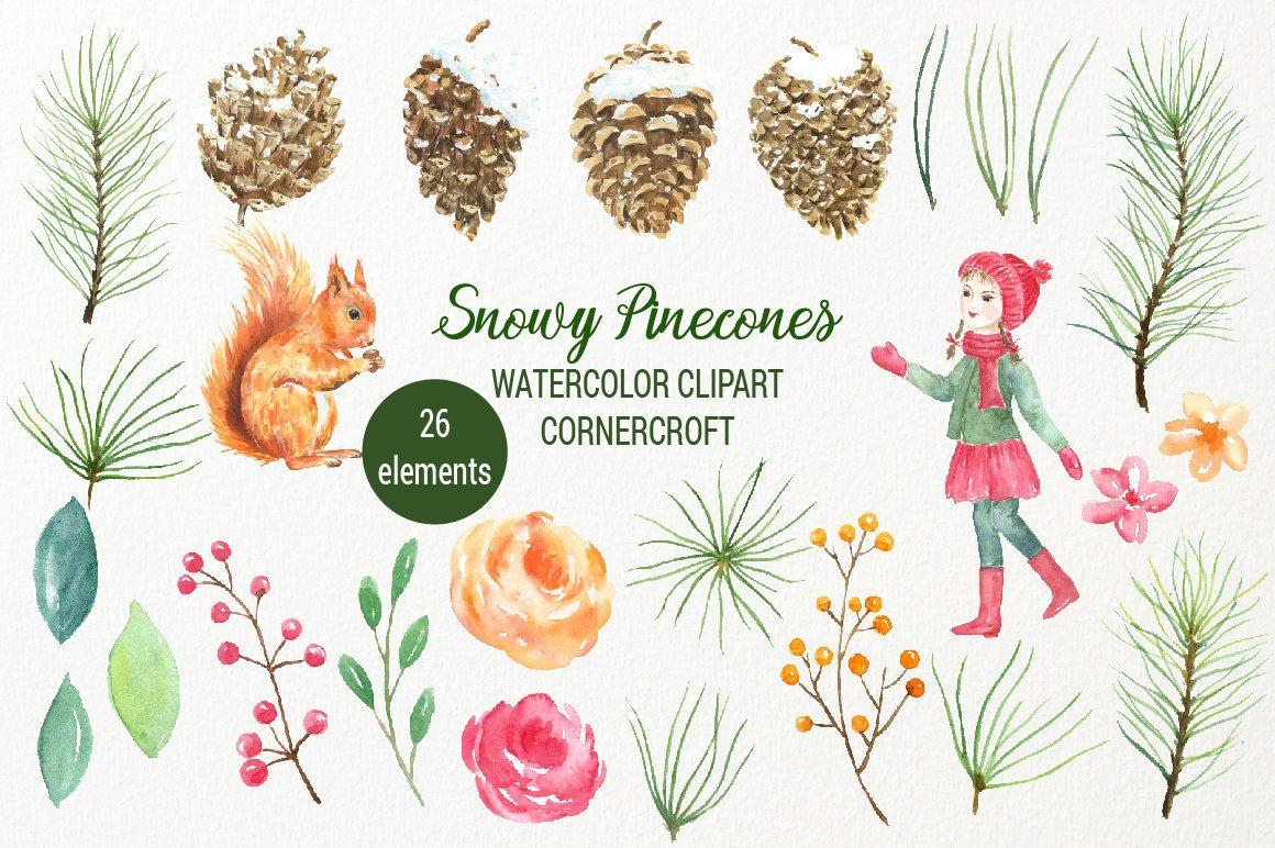 Watercolor pine cones clipart graphic royalty free stock Snowy Pine Cones Clipart: pine branches, pine cones in snow ... graphic royalty free stock