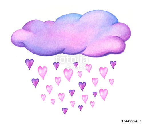 Watercolor pink cloud clipart image transparent download Cute pink cloud with hearts and raindrops isolated on white ... image transparent download