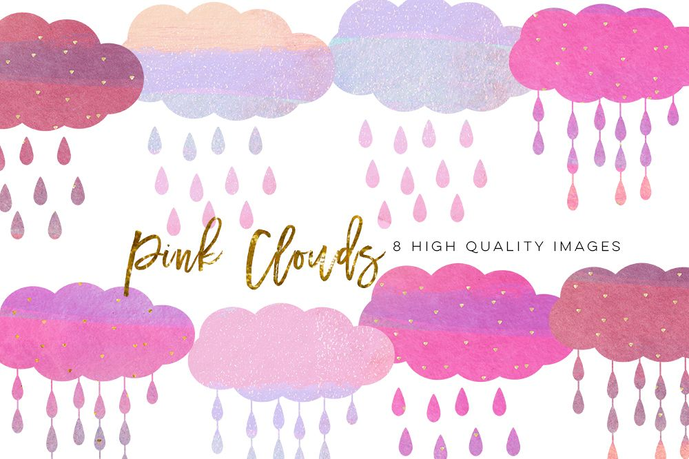 Watercolor pink cloud clipart graphic transparent stock pink clouds clip art, nursery decor, brush cloud clip art, Watercolor Brush  Stroke Pastel Pink, Gold pink clip art, sticker planner paper graphic transparent stock