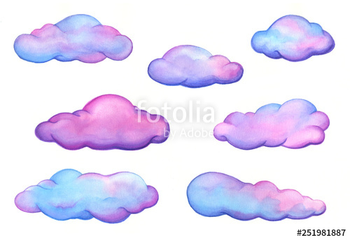 Watercolor pink cloud clipart image freeuse stock Set of pink and purple fluffy, watercolor clouds isolated on ... image freeuse stock