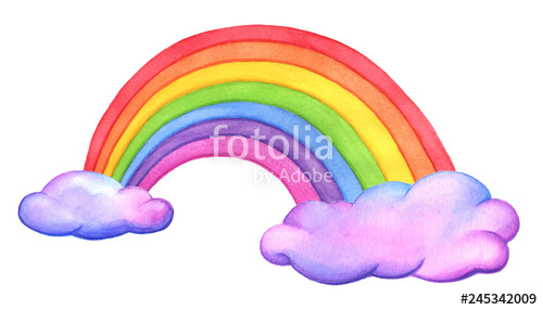 Watercolor pink cloud clipart clip library download Cute rainbow and fluffy pink clouds. Hand drawn watercolor ... clip library download