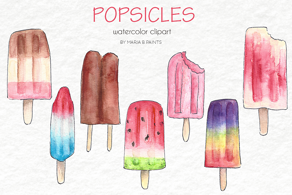 Watercolor popsicle clipart banner library download Watercolor Clip Art - Popsicles banner library download