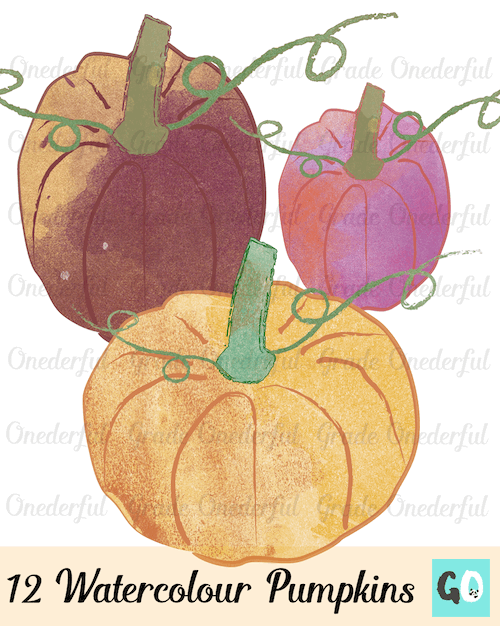 New Product: Watercolour Pumpkin Clipart - Grade ONEderful clipart library stock
