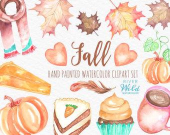 Watercolor Pumpkin Clipart Autumn Fall Watercolor Trendy PNG clip art royalty free download