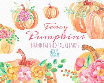 Watercolor Pumpkin Clipart Autumn Fall Watercolor Trendy PNG clip stock