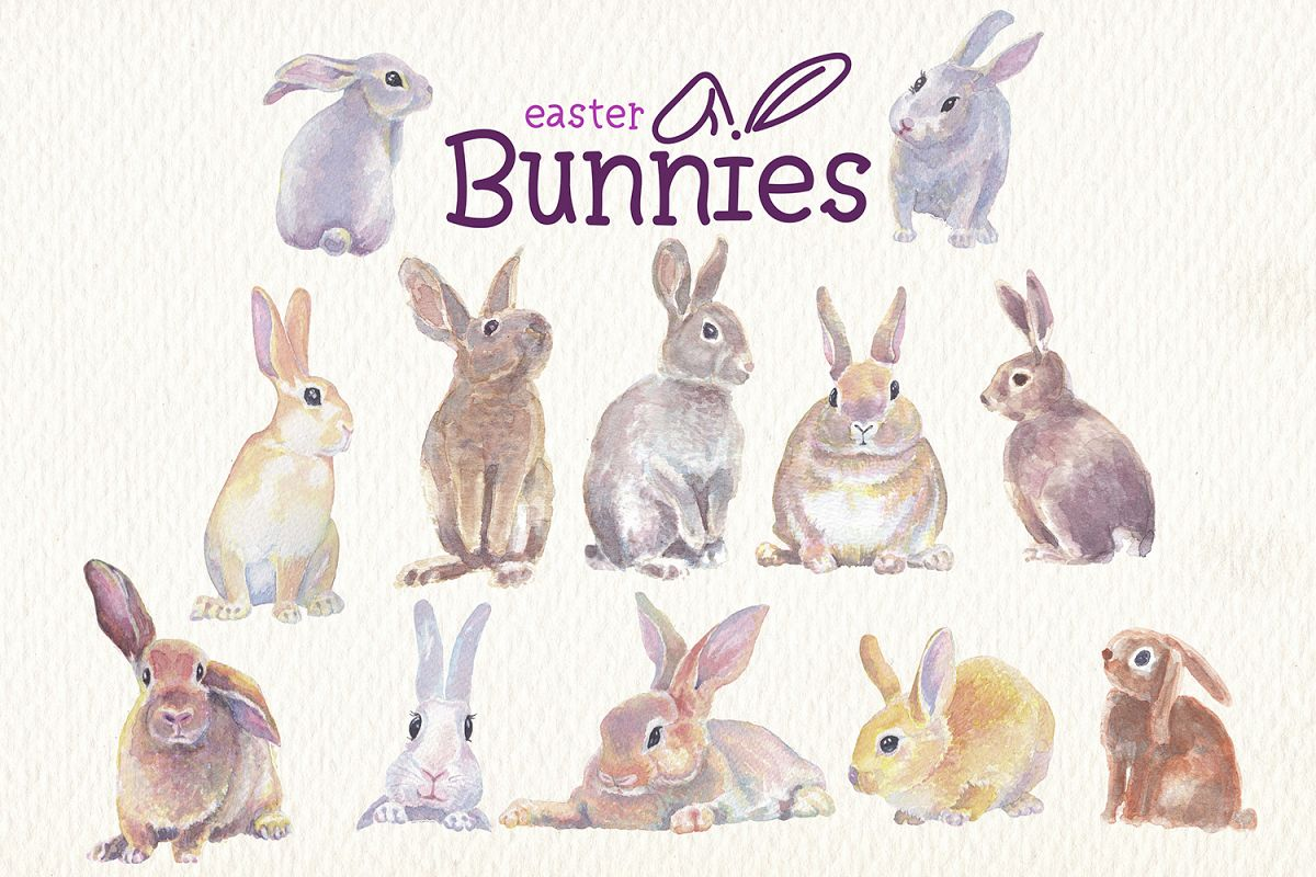 Watercolor rabbit clipart image freeuse library Easter bunnies watercolor clipart collection image freeuse library