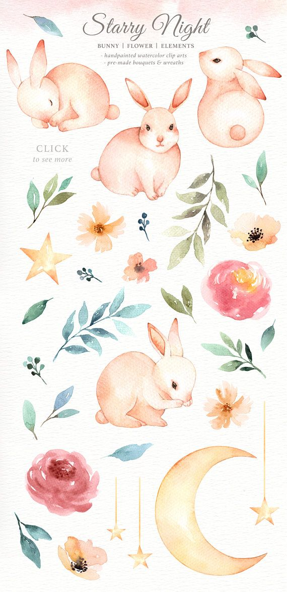 Watercolor rabbit clipart clipart stock Starry Night Bunny Watercolor Set, Bunny Clipart, Moon ... clipart stock