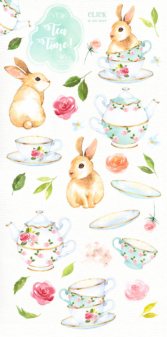 Watercolor rabbit clipart clip art freeuse stock It\'s Tea Time! Watercolor Cliparts, Bunny Clipart, Tea Party ... clip art freeuse stock