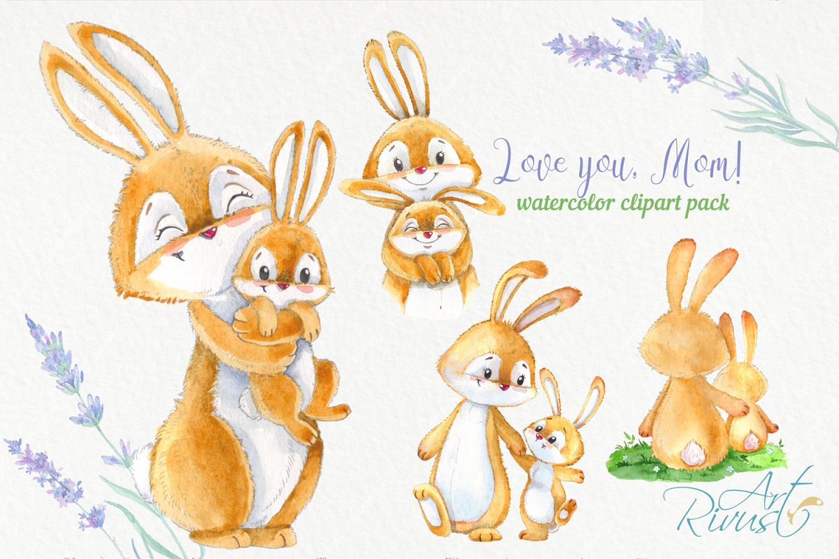 Watercolor rabbit clipart transparent stock Cute bunny and mom Mothers day watercolor rabbits clipart transparent stock