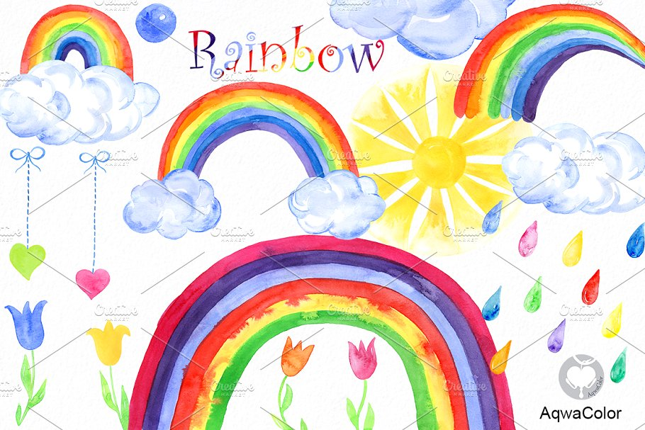 Watercolor rainbow clipart image royalty free stock Rainbow Watercolor clipart image royalty free stock