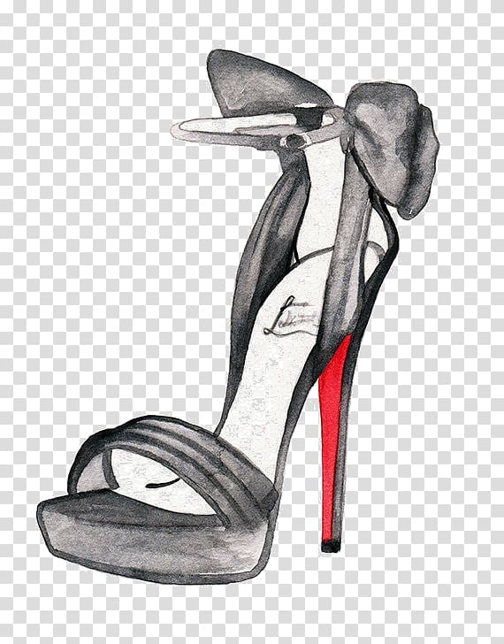 Watercolor sandal clipart vector free download Fashion illustration High-heeled shoe Drawing Watercolor ... vector free download