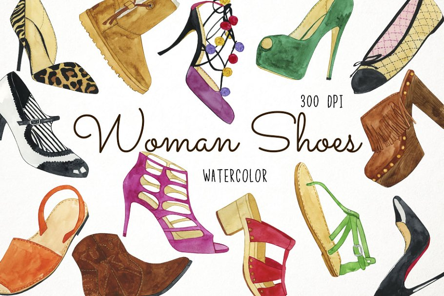 Watercolor sandal clipart clipart black and white stock Watercolor Woman Shoes Clipart ~ Illustrations ~ Creative Market clipart black and white stock