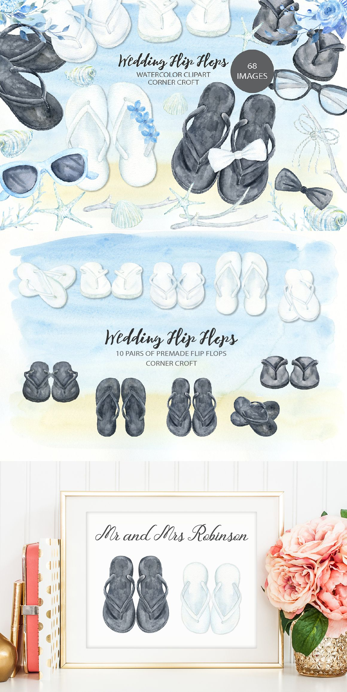 Watercolor sandal clipart banner download Watercolor wedding flip flops collection, white sandals and ... banner download