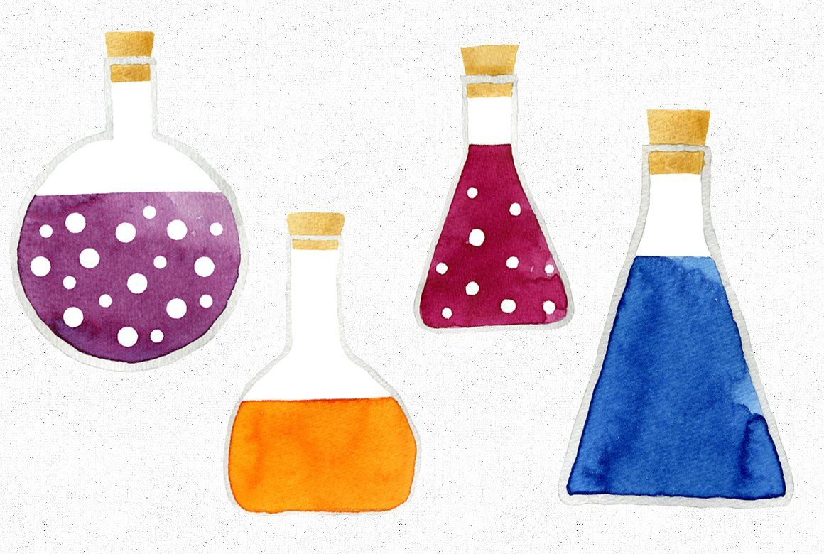 Watercolor science lab coat clipart graphic transparent stock Watercolor Chemistry Flasks #cute#science#painted#watercolor ... graphic transparent stock