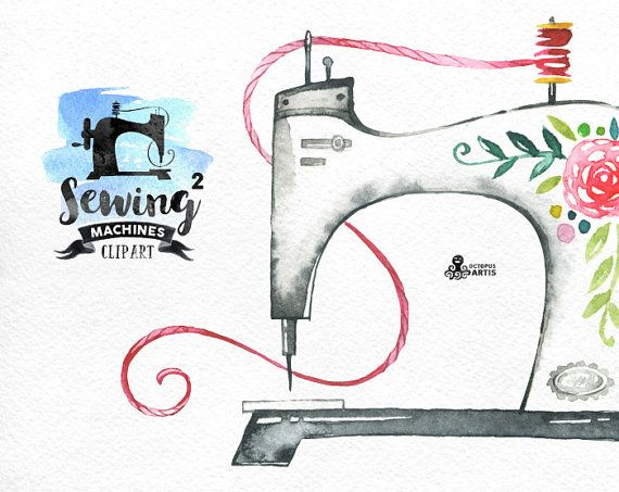Watercolor sewing machine clipart png stock Sewing Machines 2 Watercolor Clipart. 8 Hand painted images ... png stock