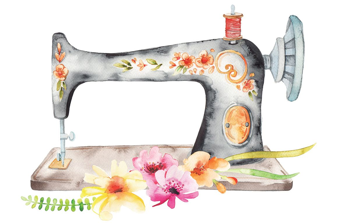 Watercolor sewing machine clipart clip black and white watercolor craft + flower set by LeraXendzova on ... clip black and white