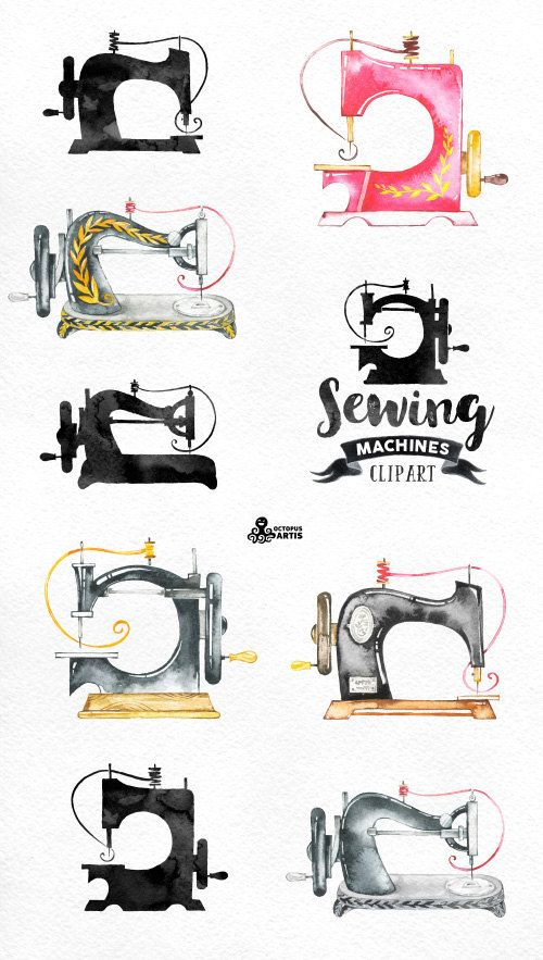 Watercolor sewing machine clipart png black and white Sewing Machines Watercolor Clipart. 9 Hand painted images ... png black and white