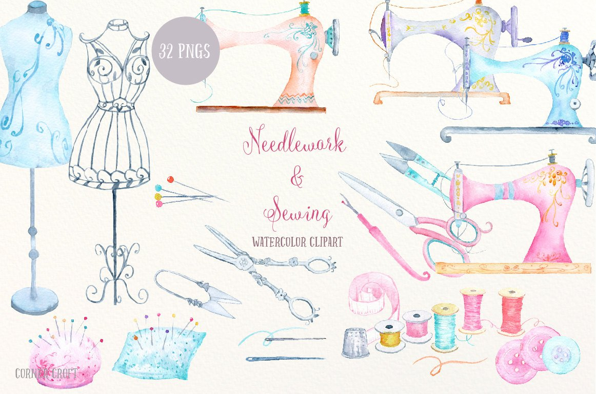 Watercolor sewing machine clipart png library library Watercolor Clip Art Needdlework and Sewing, vintage sewing ... png library library