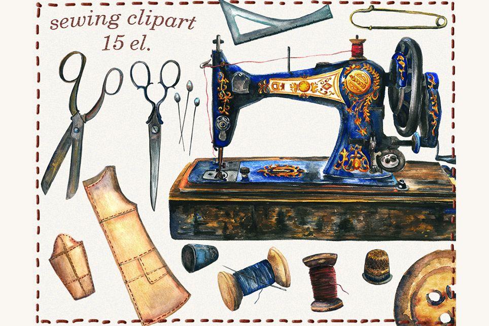 Watercolor sewing machine clipart clip stock Sewing clipart, sewing machine, watercolor sewing clipart, clip stock