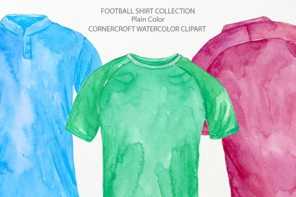 Watercolor shirt clipart graphic Watercolor football shirts in plain color, soccer shirt illustration,  instant download graphic