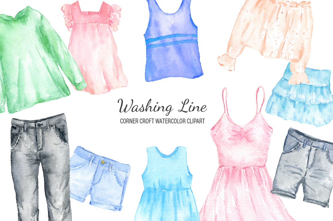 Watercolor shirt clipart clip art free library Watercolor washing line clipart, clothes line clipart, fashion clothes,  shirt, dress, jeans and pegs for instant download clip art free library
