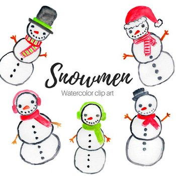 Watercolor snowman clipart free Watercolor Snowman Clipart Set free