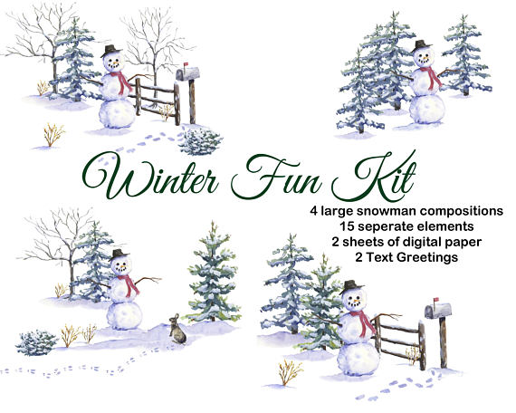 Watercolor snowman clipart transparent download Christmas watercolor clipart hand painted: Snowman, pine ... transparent download