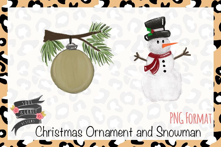 Watercolor snowman clipart vector download Watercolor Christmas Ornament and Snowman Clipart vector download