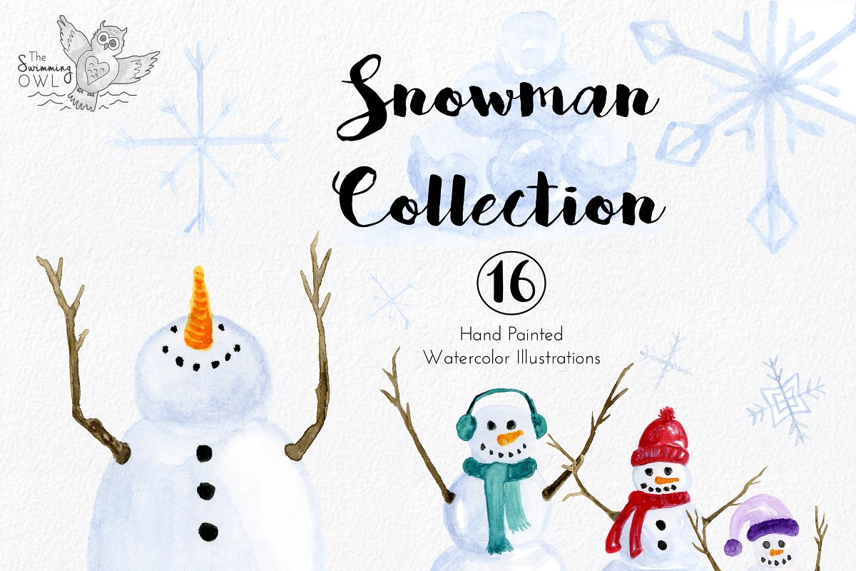 Watercolor snowman clipart svg royalty free download Snowman Watercolor Clipart ~ Illustrations ~ Creative Market svg royalty free download