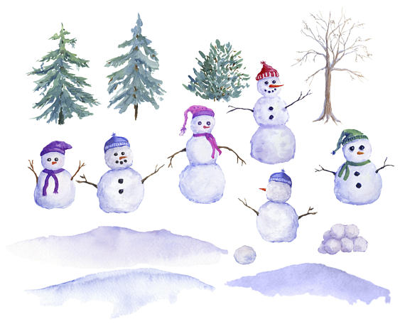 Watercolor snowman clipart vector transparent stock Snowman Clipart, Watercolor snowman Family, Winter Clip art ... vector transparent stock