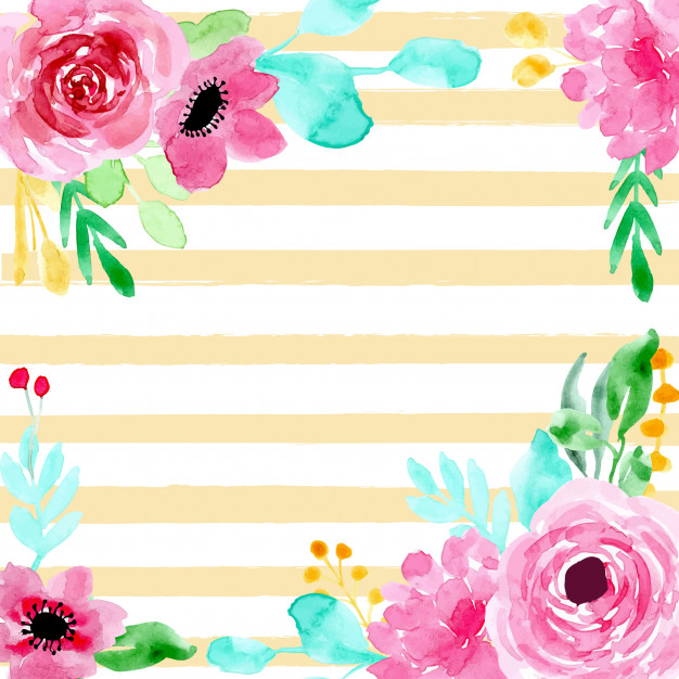 Watercolor striped background clipart graphic transparent stock Colorful floral watercolor and stripes background Vector ... graphic transparent stock