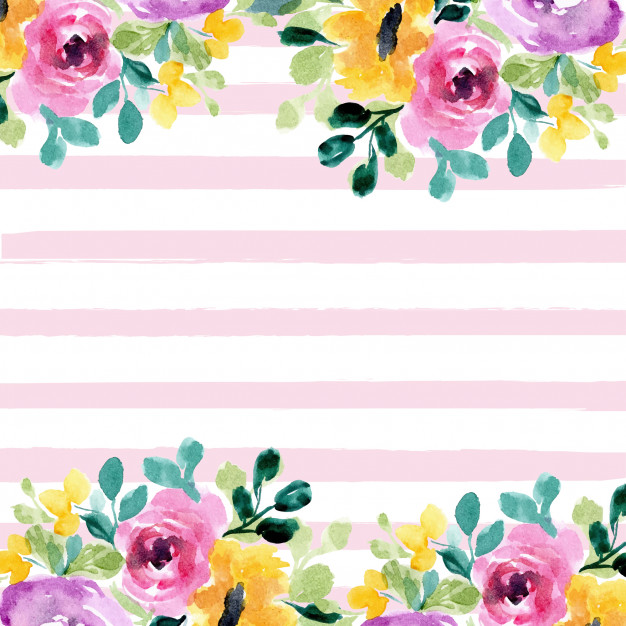 Watercolor striped background clipart png royalty free download Beautiful floral watercolor and stripes background Vector ... png royalty free download
