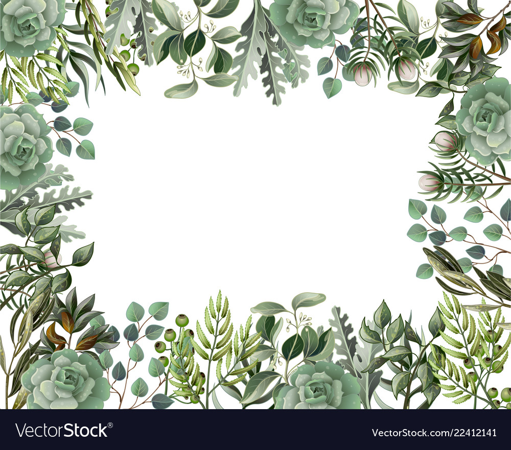 Watercolor succulent border free clipart vector free library Border and frame with leaves and succulent vector free library