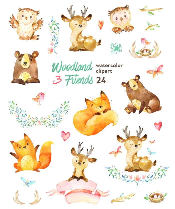 Watercolor woodland animals clipart free Woodland Friends 3. Watercolor animals clipart, fox, forest ... free