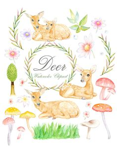 Watercolor swag clipart woodlands banner freeuse 420 Best Woodland - Clipart images in 2019 | Leaves ... banner freeuse