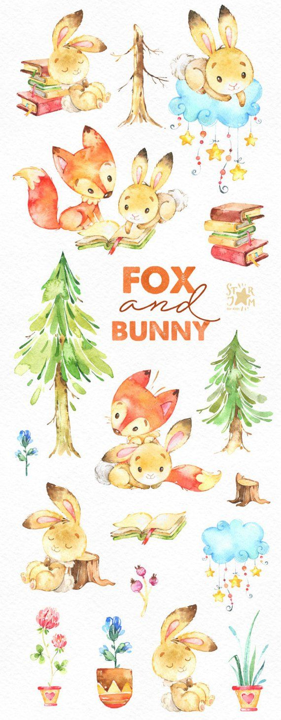 Watercolor swag clipart woodlands graphic royalty free Fox and Bunny. Cute animal clipart, watercolor, friends ... graphic royalty free