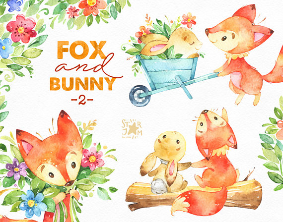 Watercolor swag clipart woodlands picture transparent stock Fox and Bunny 2. Friends and Flowers, watercolor, animal ... picture transparent stock
