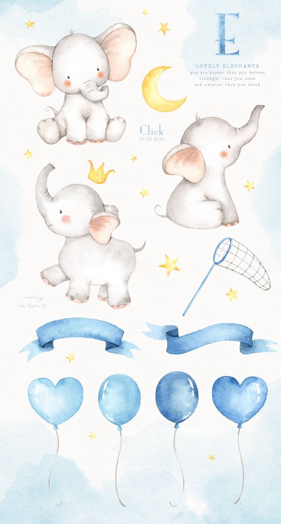 Watercolor baby elephant clipart png black and white stock Lovely Elephants Watercolor Clip Art, Elephant Clipart, Moon ... png black and white stock