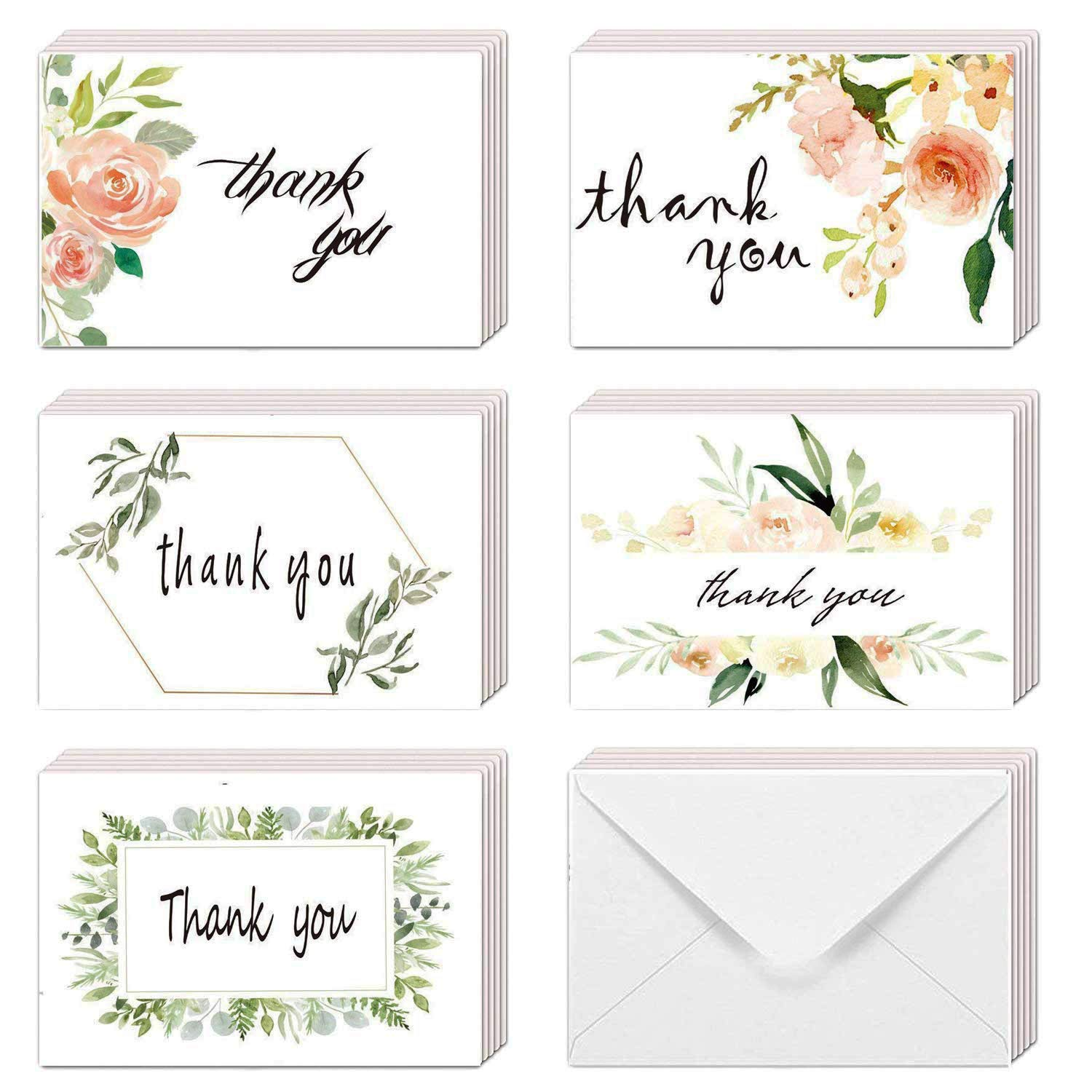 Watercolor thank you clipart image freeuse library EHME Floral Thank You Cards for Wedding, Bridal Shower, Baby Shower Thank  You Notes Card with Envelopes and Stickers, 40 Bulk Pack Greenery Flower ... image freeuse library