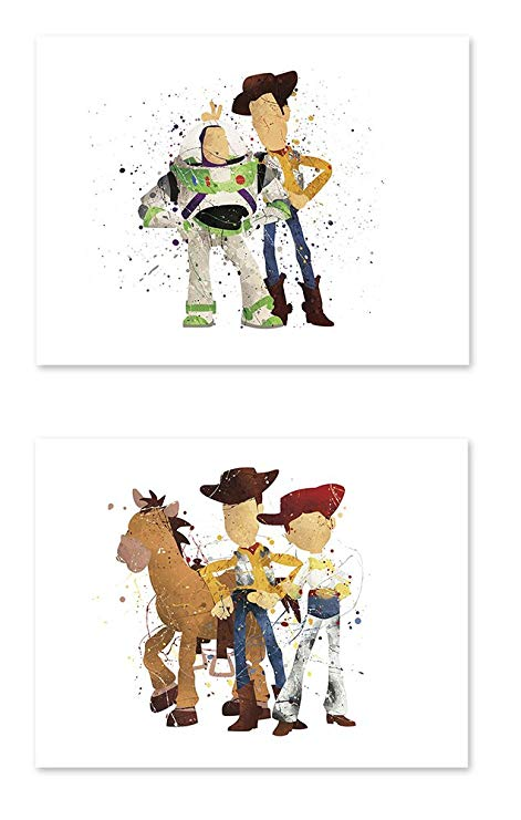 Watercolor thumbtack clipart svg freeuse stock P38 Toy story poster - 8x10 art print Watercolor Painting Paper - Set of 2  - Great Room Nursery Decorations svg freeuse stock