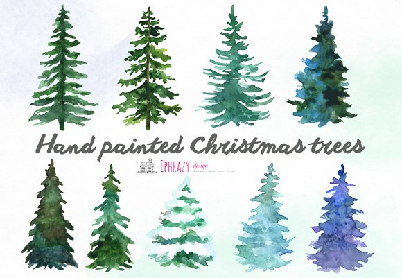 Watercolor trees free clipart banner royalty free Christmas tree clipart. Watercolor banner royalty free